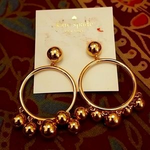 Kate spade gold hoops with dangly balls NEW. NWT